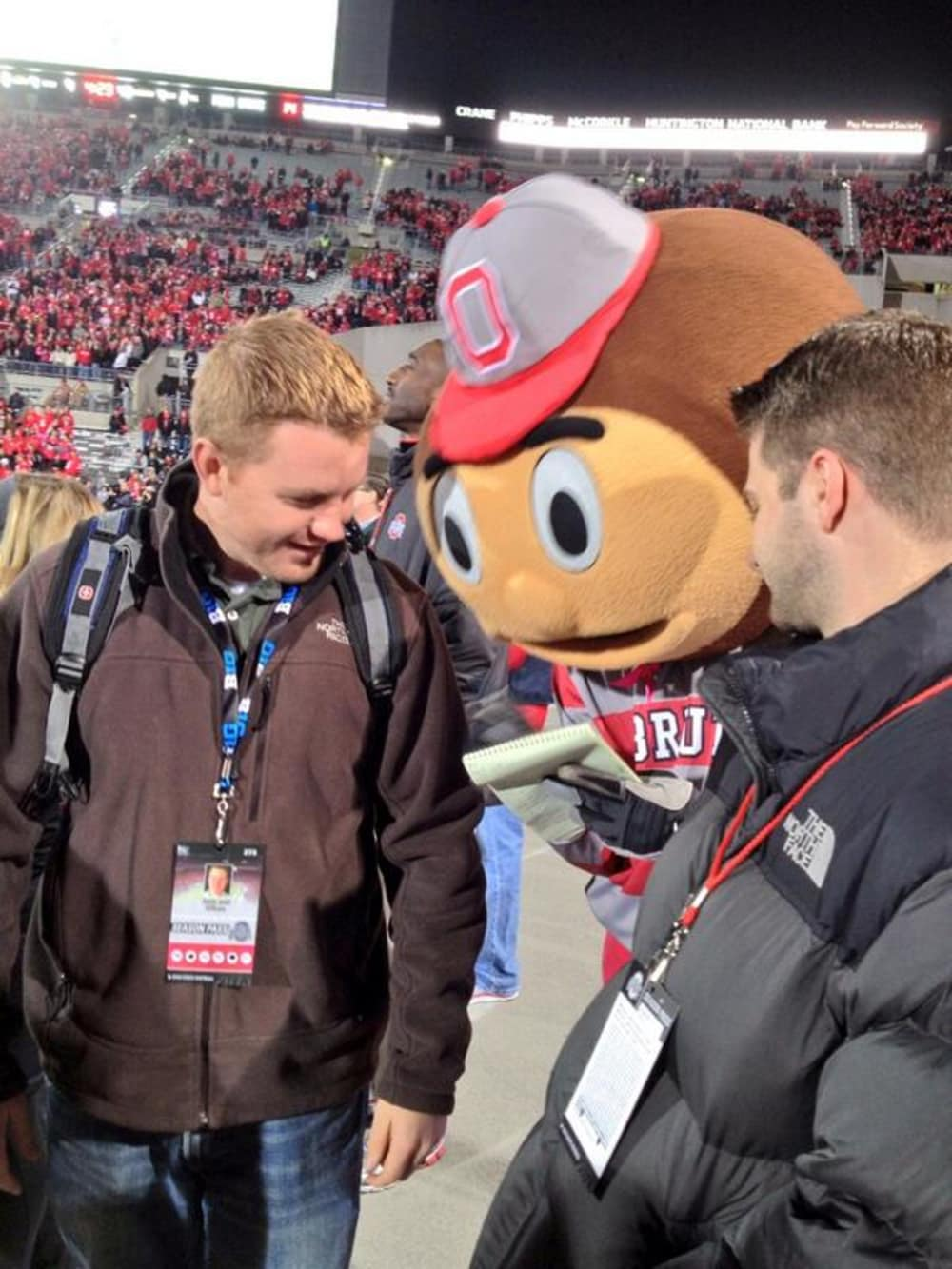 Ohio State-Brutus Buckeye-Ohio State mascot-Austin Ward-Ohio State reporter