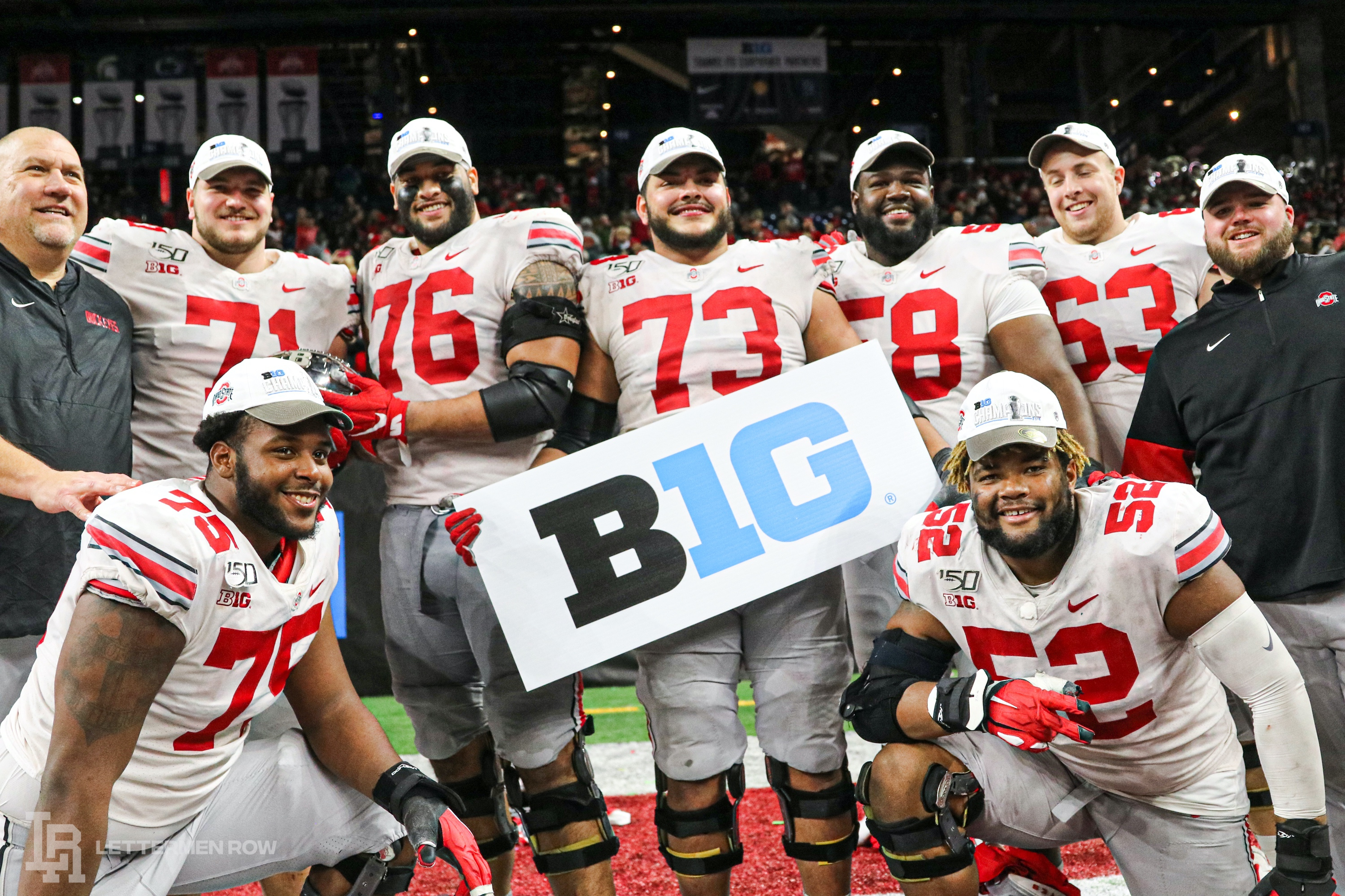 Ohio State offensive line by Birm-Lettermen Row