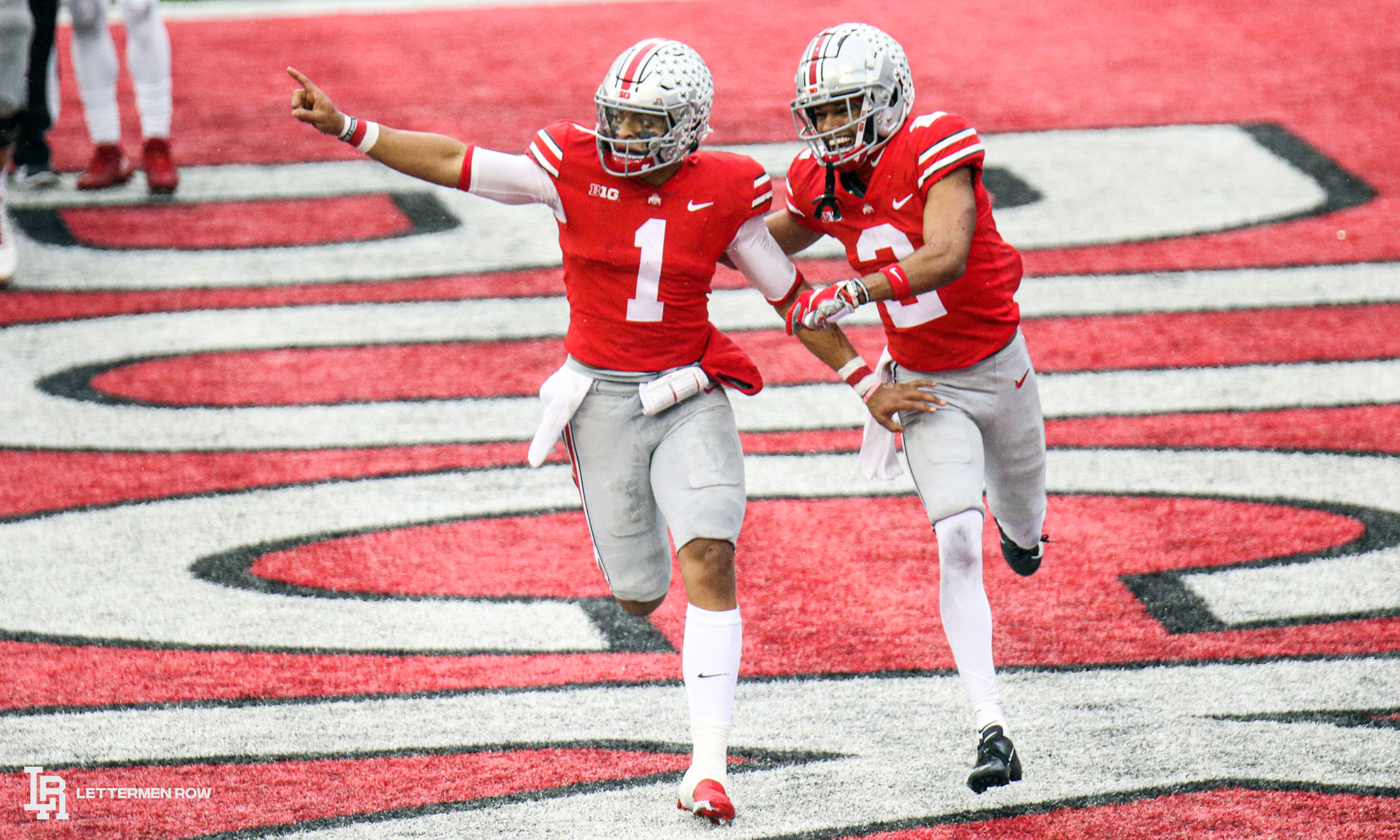 Justin-Fields-and-Chris-Olave-by-Birm-Lettermen-Row