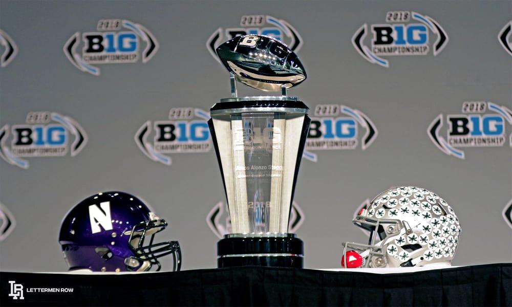 northwestern-vs-ohio-stat-b1g-title-game-helmets by birm-lettermen row